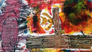 Při tvorbě tohoto obrázku se Terezka naučila zase něco nového. Nalepila na čtvrtku různé materiály, doplnila barvami a....