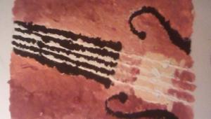 Magdalenka také moc ráda maluje. Takto si namalovala své vysněné housle